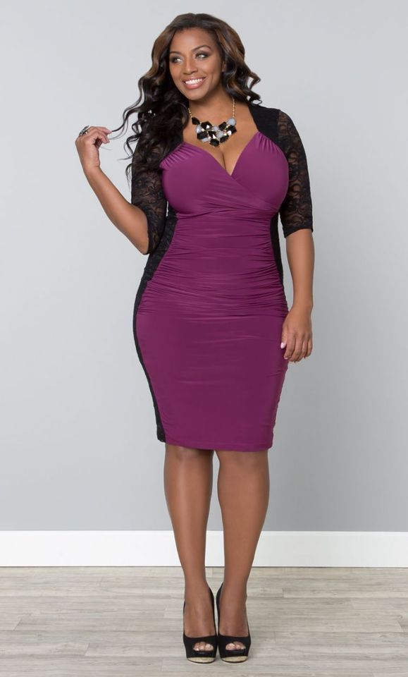 With this stunning purple #bodycon Plus Size cocktail party dress ...