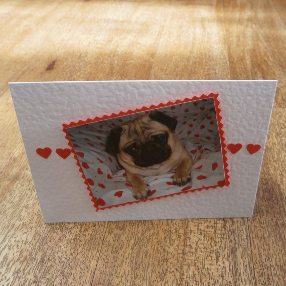 Pug love card by onelittlepug on Etsy