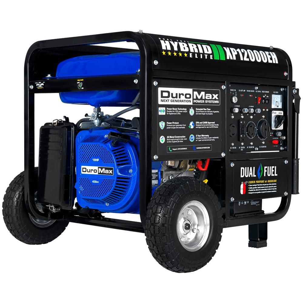 Duromax 12000 Watt 9500 Watt Electric Start Dual Fuel Gas Propane Portable Generator Home Back Up Rv Ready 50 State Approved Xp12000eh The Home Depot Generators For Sale Dual Fuel Generator Propane Generator