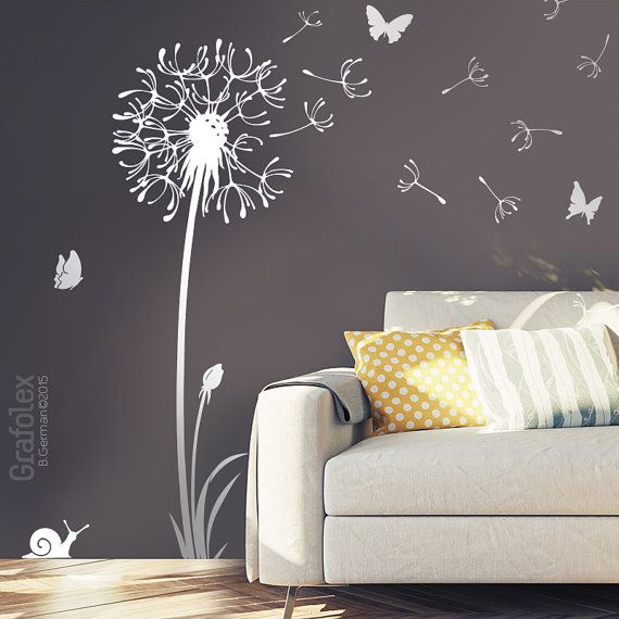 graines de pissenlit stickers mur vol papillons par grafolex id es pinterest stickers mur. Black Bedroom Furniture Sets. Home Design Ideas