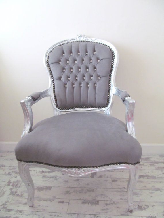 Grey Velvet Crystal Diamante French Shabby Chic Silver Louis Armchair Salon Bedroom Chair On Etsy