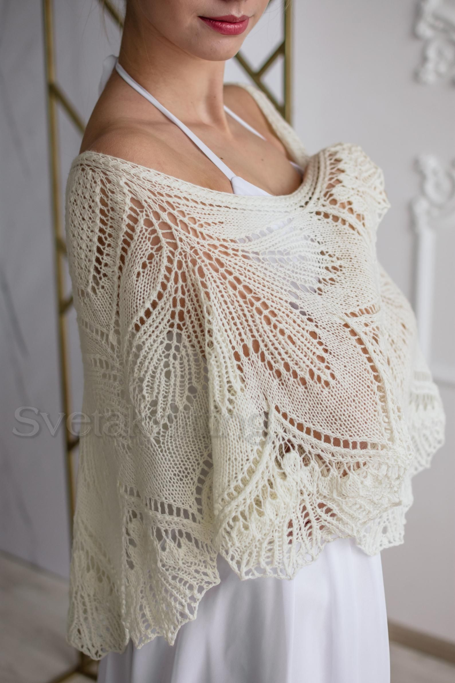 Hand Knitted Ivory Wedding Shawls And Wraps White Cape For Etsy In 2020 Shawls And Wraps Hand Knitting Wedding Shawl