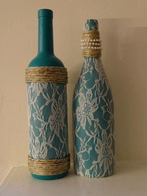 Lace pearl and twine adorned teal wine bottles set of two by TwinenWineCreations on Etsy (decorated bottle reuse recycle) & Pin by Gladys Matar on Manualidades y crafts | Pinterest | Bottle ...