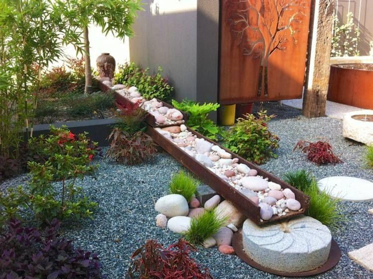 Préférence Décoration jardin avec graminées d'ornement,arbres et pierres  QF05