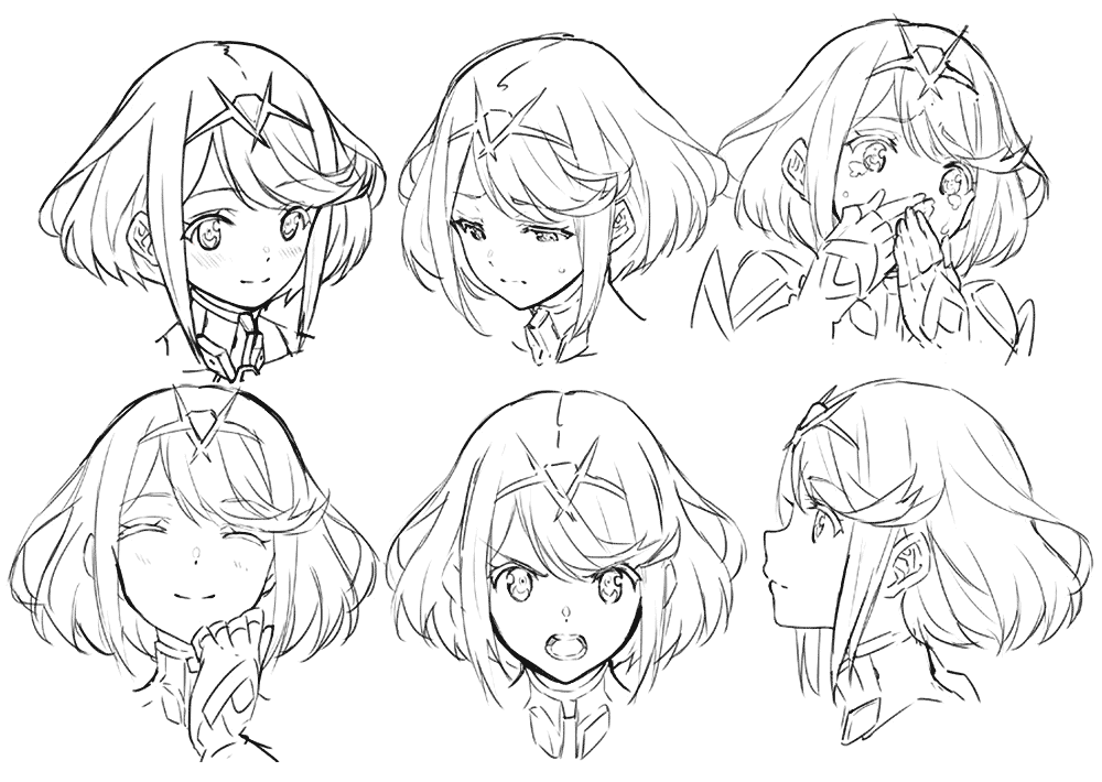 Pyra Facial Expressions Character Art From Xenoblade Chronicles 2 Art Illustration Artwor Drawing Expressions Anime Faces Expressions Anime Character Design