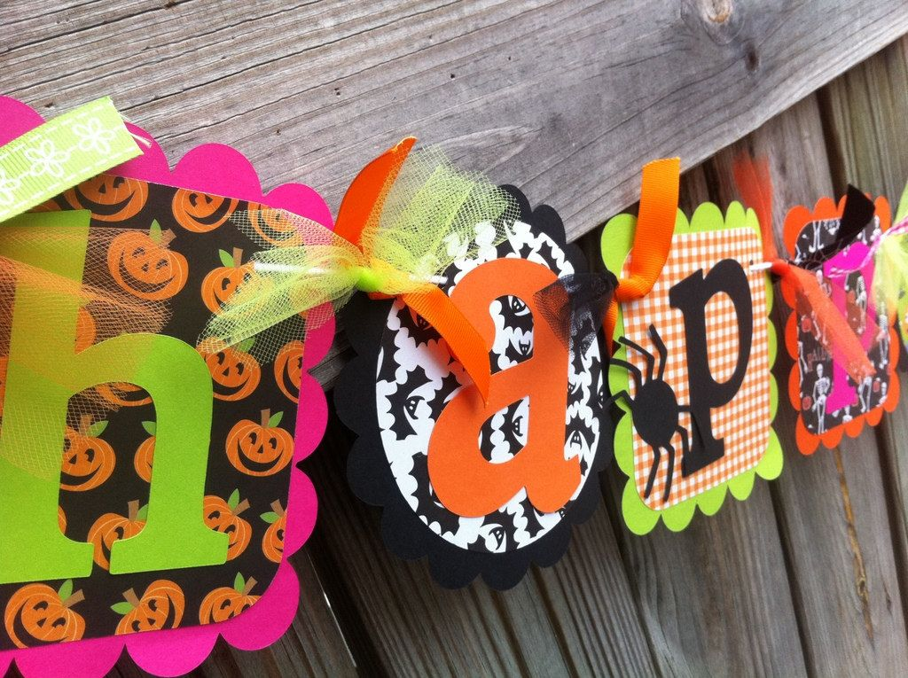 HaLlOwEEn Themed HAPPY BIRTHDAY Banner in hot pink, lime