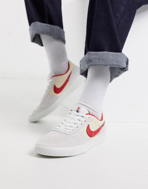 Nike Sb Team Classic Trainers In Off White Red Asos In 2020 Nike Sb Nike Classic Sneakers