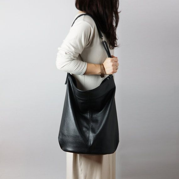 Black leather hobo bag - crossbody leather bag, slouchy leather ...
