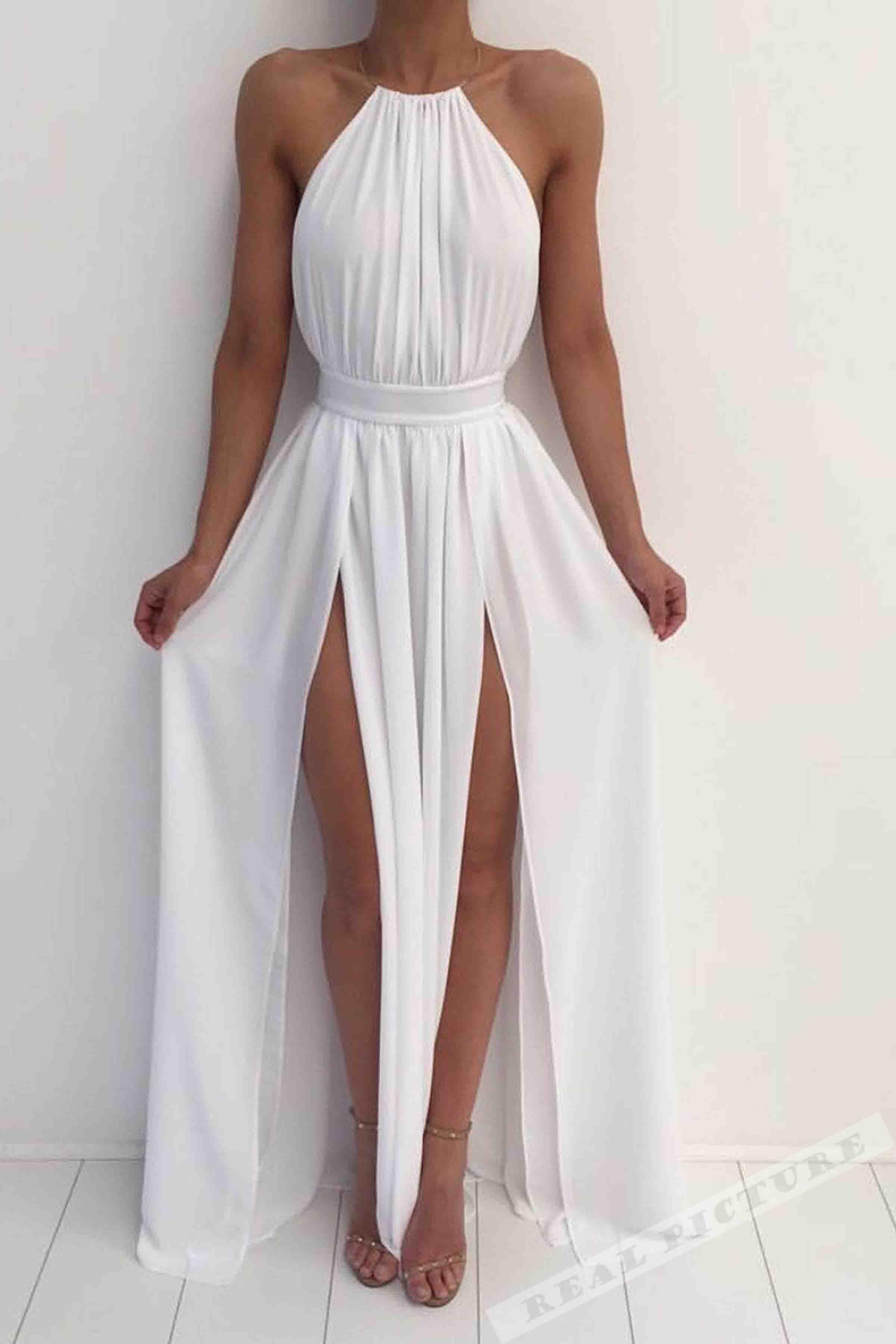 White chiffon round neck slimline slit long prom dresssimple cheap