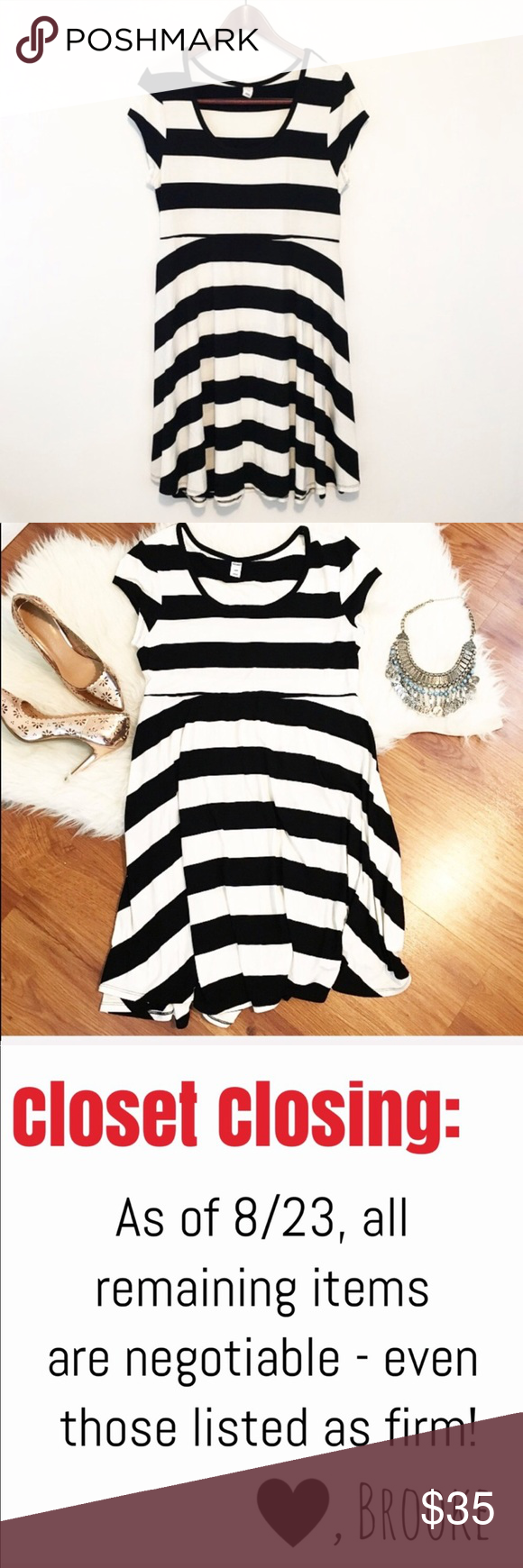 Flowing striped dress black white short sleeve shop with me