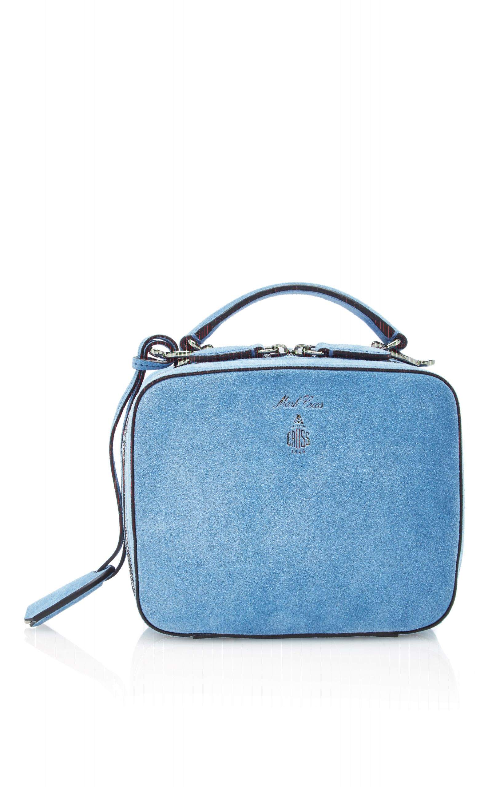 794795234248 This bag by   Mark Cross   is rendered in suede and features a top double  zip closure
