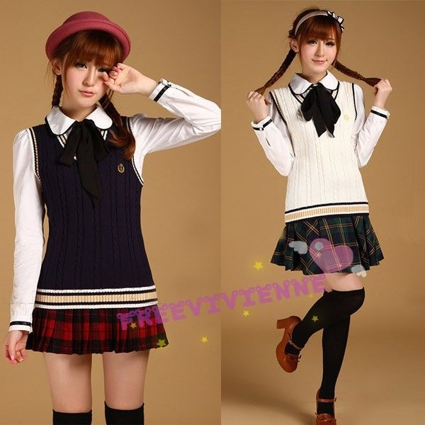 Japanese School Uniform school girl sweater vest tank top shirt  Unbranded   VNeck 69227f6f6