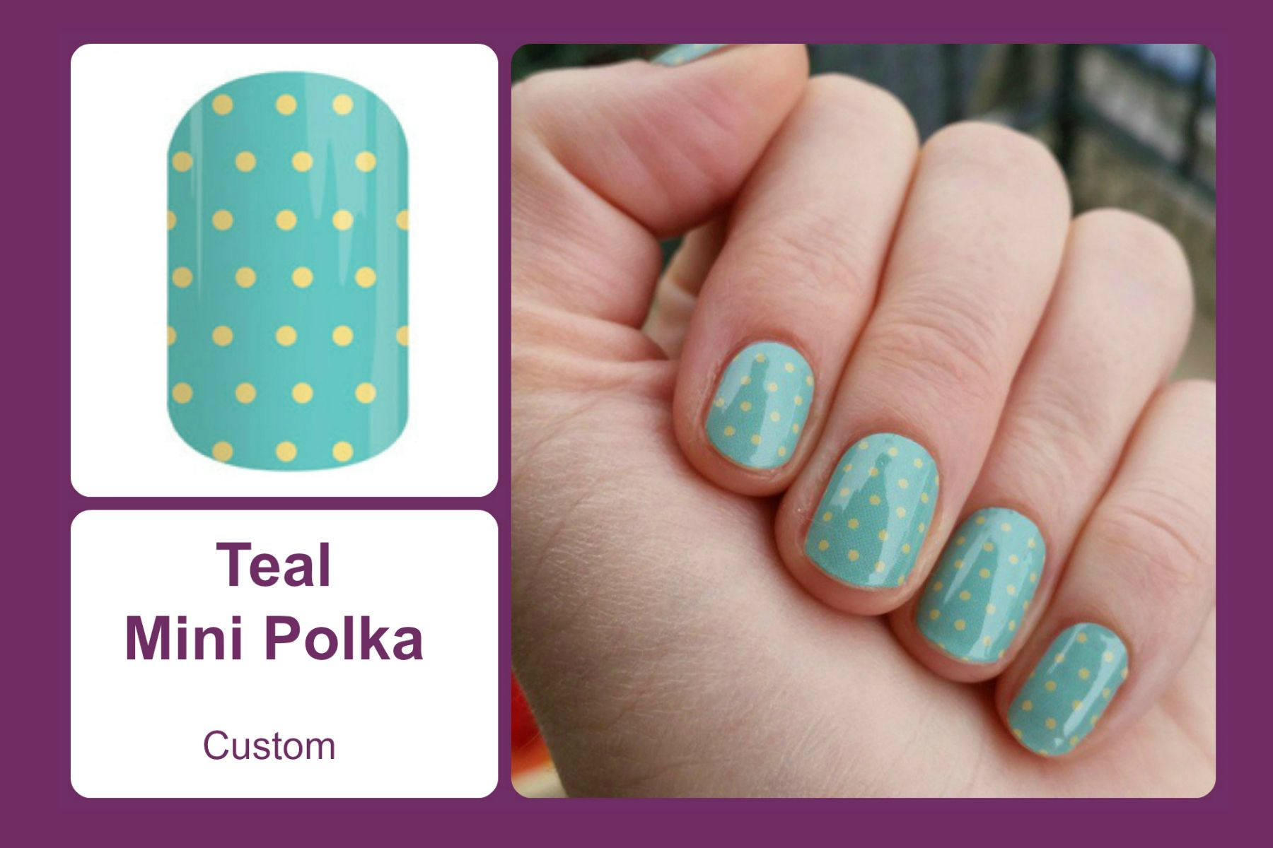 This classic design features a yellow polka dot pattern on a teal background. #bevsjamminnails https://bkimball.jamberry.com/us/en/shop/products/teal-mini-polka#.Vxe2VfkrJQI