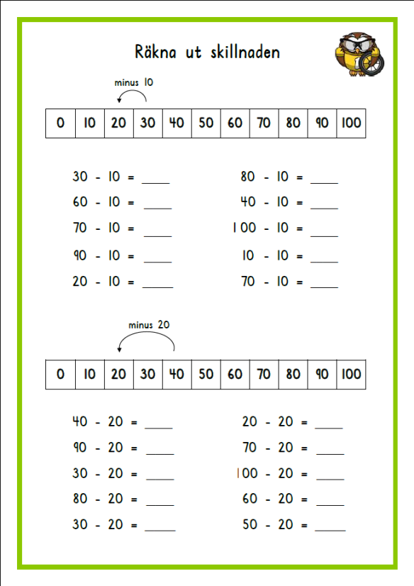 Addition och subtraktion med jämna tiotal | Matematikai | Pinterest ...