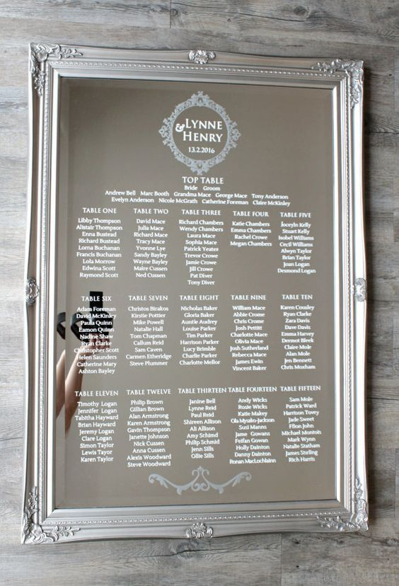 Mirror Wedding Table Plan Diy Modern Luxury By Loveyweddings