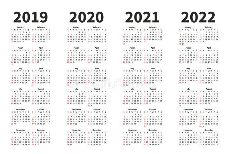 Calendario 202018.Calendar O Molde Do Projeto De Um Vetor De 2019 2020 2021 E 2022