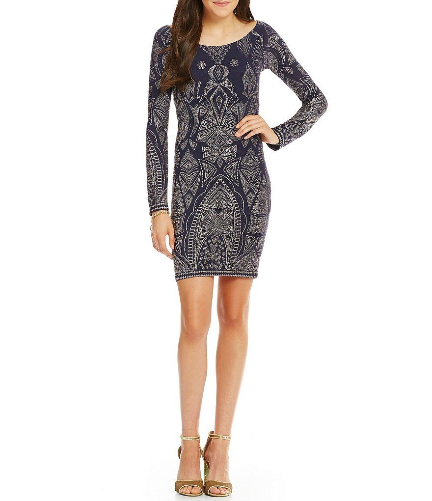 Jump long sleeve glitter pattern sheath dress outfit inspiration