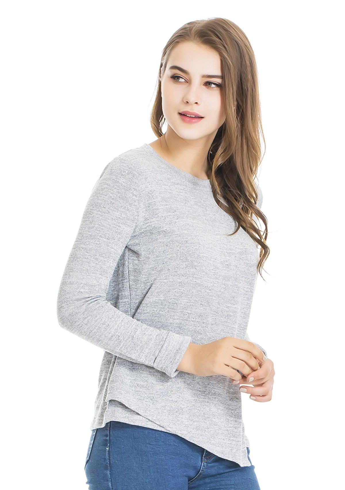 33ce867a6e00e nursing tops - Modern Mummy Womens Maternity Autumn Long Sleeves Breastfeeding  and Nursing Top Gray Medium >>> Continue to the item at the image web link.