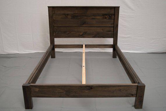 Best Rustic Farmhouse Platform Bed W Headboard Traditional 400 x 300