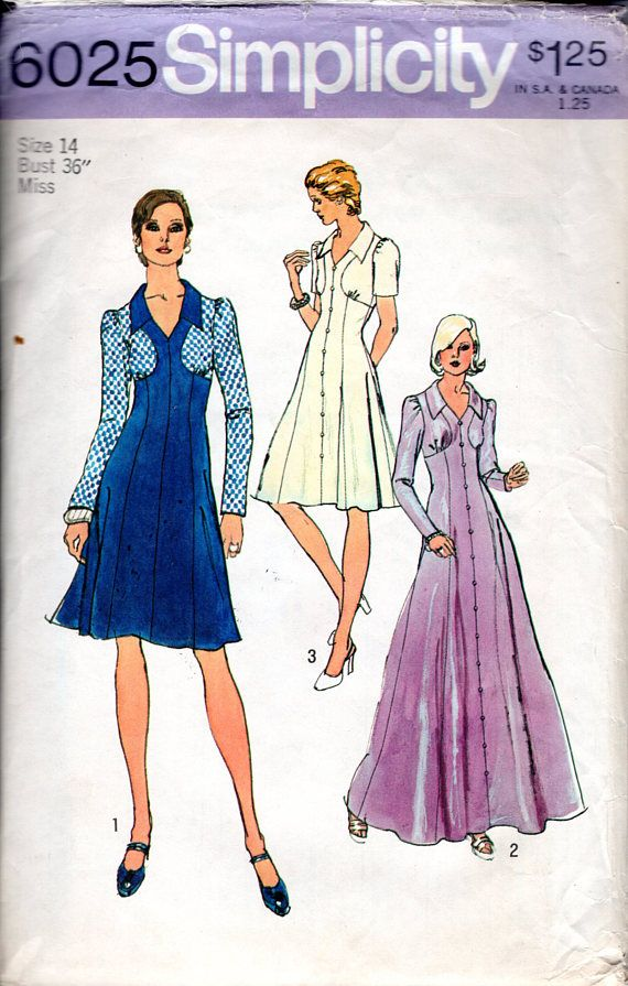 Sewing Pattern Vintage 70s Maxi Dress w Bodice Detailing Size 14 ...