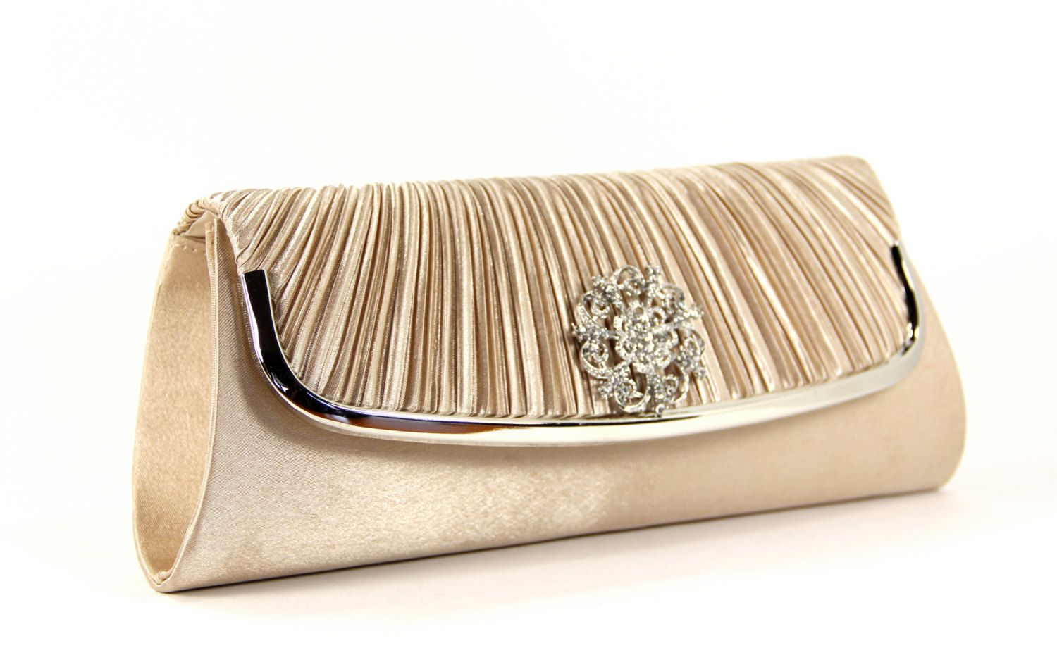 Vintage Inspired Champaagne Satin Evening Bag, Bridal Clutch ...