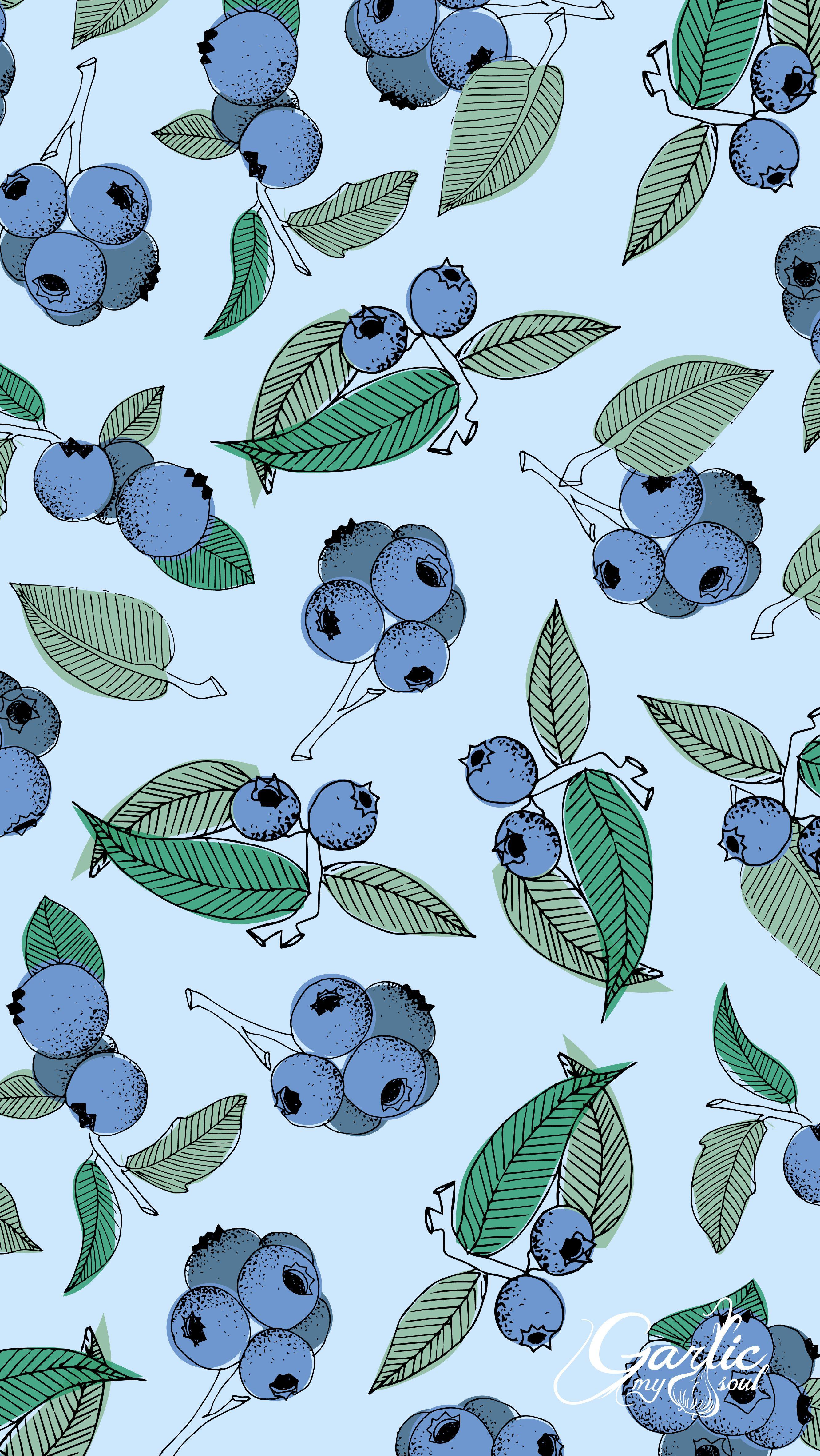 Blueberry Cute Patterns Wallpaper Iphone Background Wallpaper Fruit Wallpaper