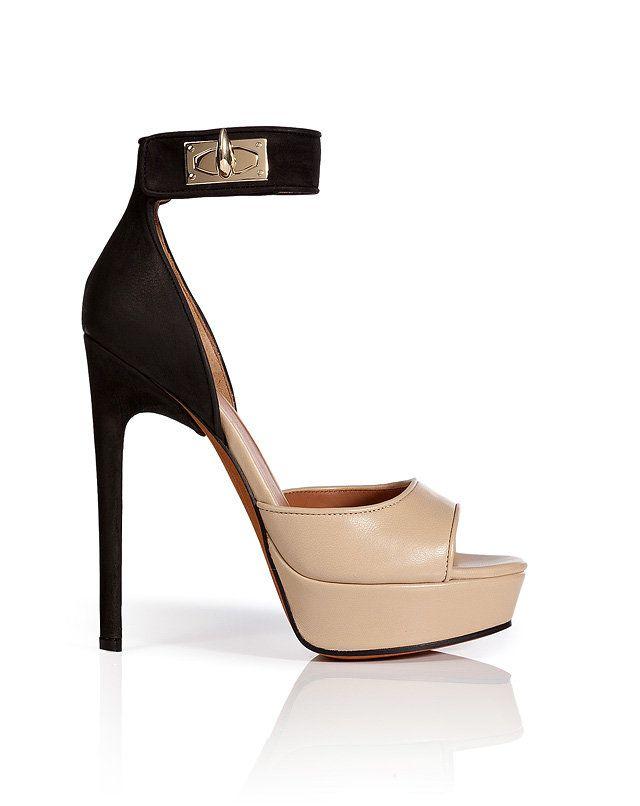 Givenchy - Leather/Nubuck Platform Sandals on Wanelo