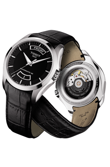 1719a5580 Tissot Couturier Powermatic 80 Watch with Black Dial and Black Leather Strap