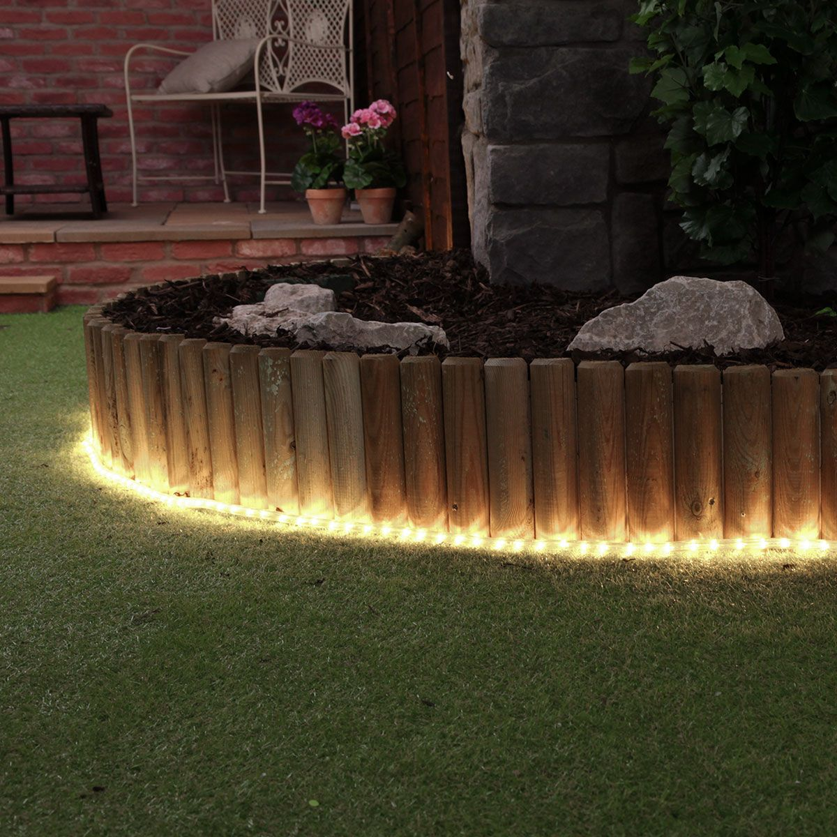 Perfect For Highlighting Borders Flower Beds And Water Features Rope Light Is So Versatile A Outdoor Landscape Lighting Backyard Lighting Solar Lights Garden