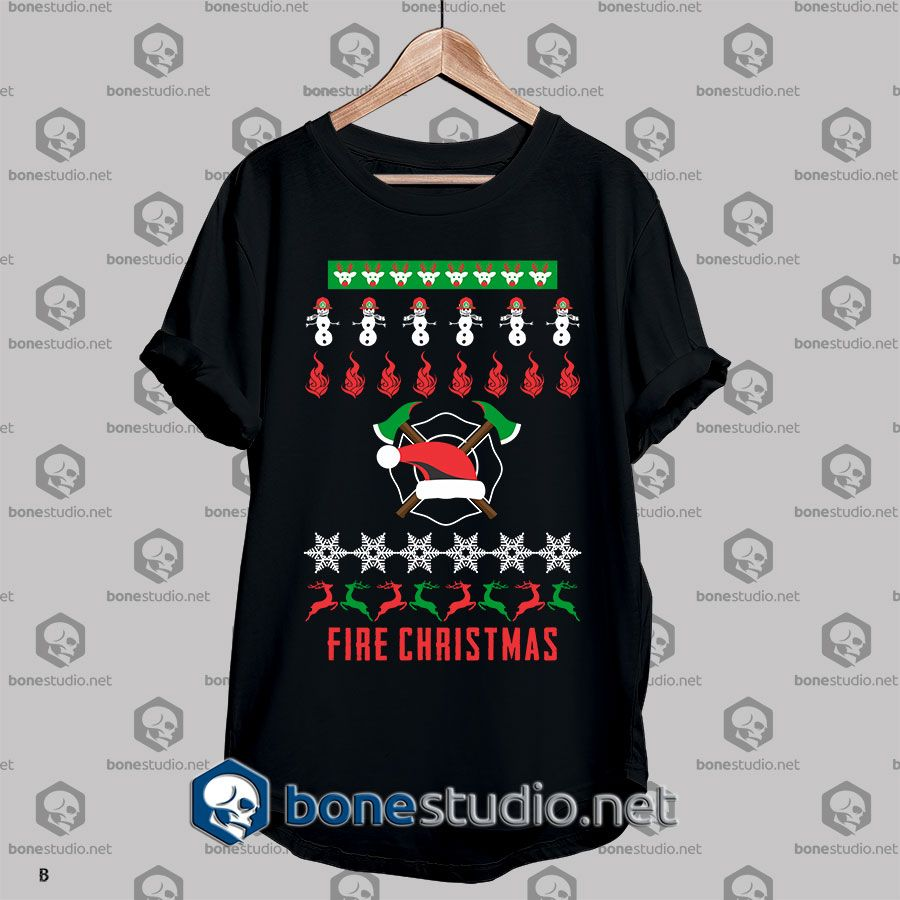 Ugly Style Fire Christmas T shirt Adult Unisex Size S-3XL
