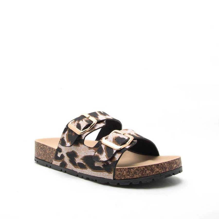 7bf783fa64b Qupid Shoes Delta Leopard Two Band Sandals for Women in Camel DELTA ...