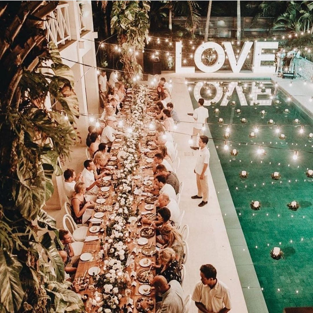 100 Layer Cake On Instagram Now This Is A Party We Want To Be Invited To Balieventhire Weddingsbytheungas Pool Wedding Pool Wedding Decorations Wedding