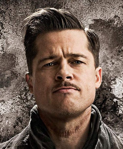 Brad Pitt side parted hairstyle in Inglourious Basterds ...