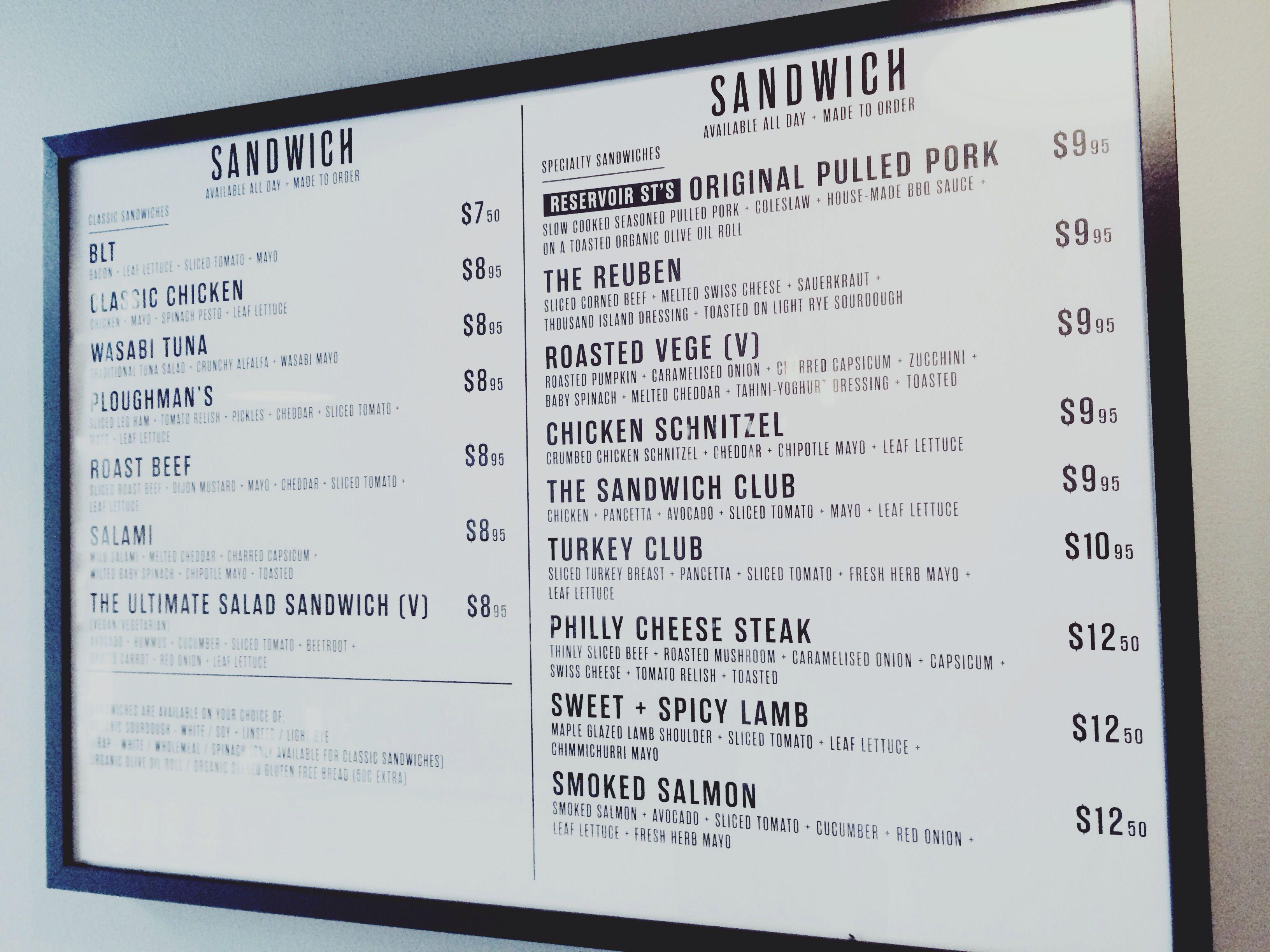 White apron sandwiches dc menu - The Sandwich Shop Reservoir St Surry Hills