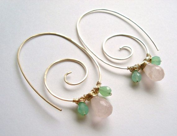 Gemstone Spiral Hoops, Rose Quartz, Chrysoprase, Swirl Hoop Earrings, Hammered Gold Hoops, Pink Green
