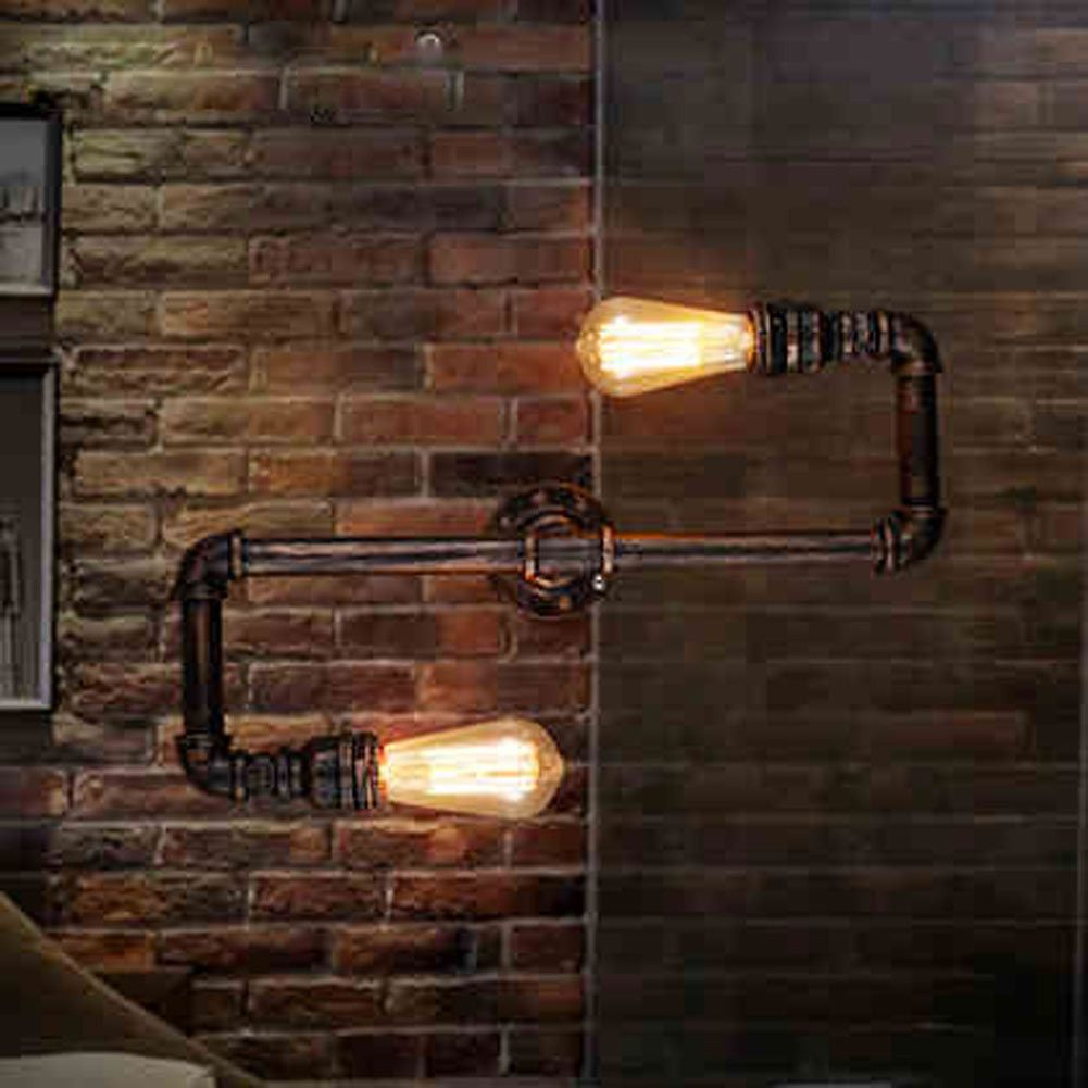 Old Rustic Wall Lights : Retro Loft Industrial Faucet Antique Edison Wall Lamp Light Water Pipe Metal Rustic Loft Wall ...