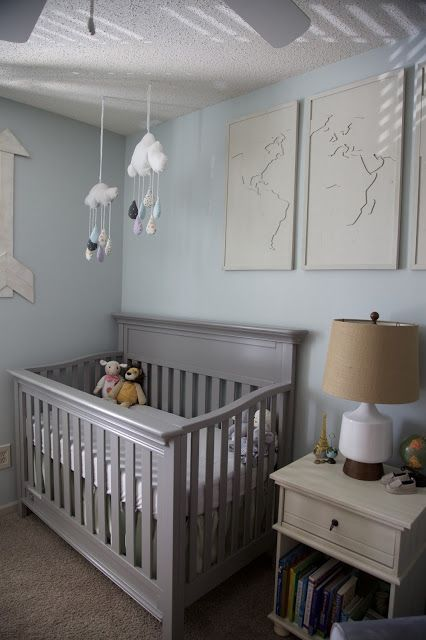 A Travel And Adventure Inspired Gender Neutral Nursery With Pops Of Burlap Pale Gray White Blue Green