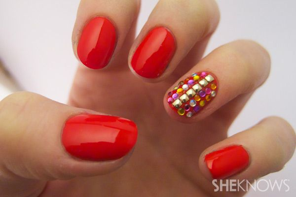 Photo of red accent nail art tutorial