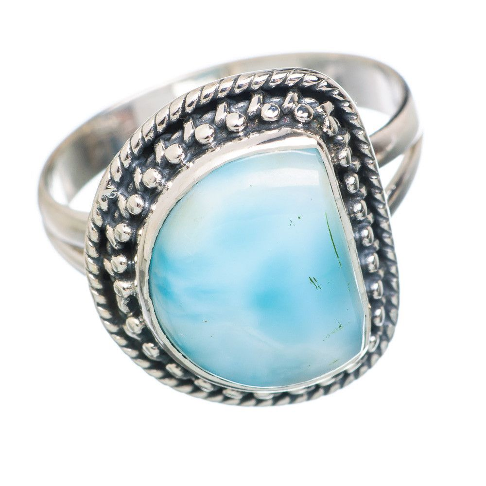 Rare Larimar 925 Sterling Silver Ring Size 8.25 RING747300