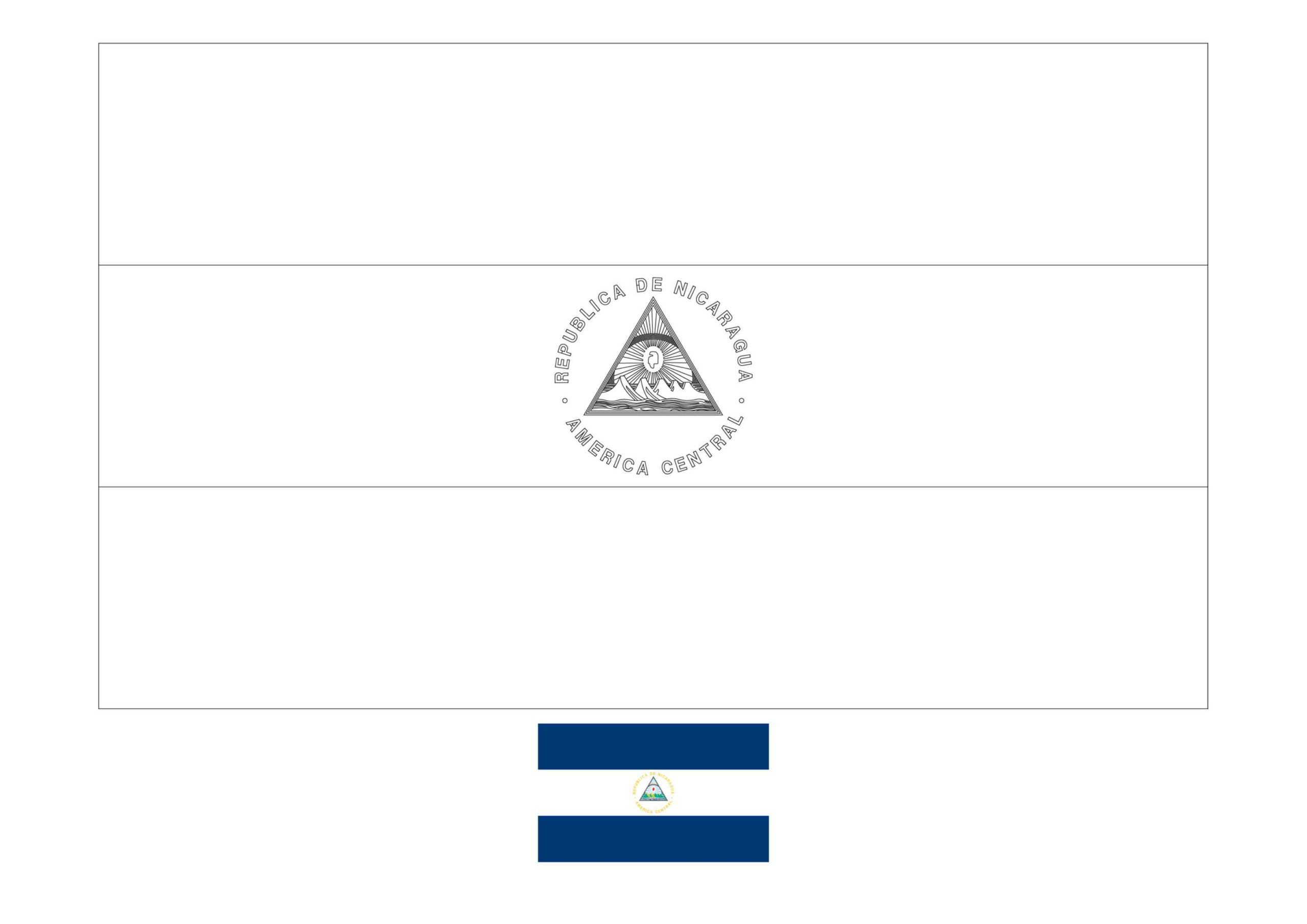 Nicaragua Flag Coloring Page In 2020 Flag Coloring Pages