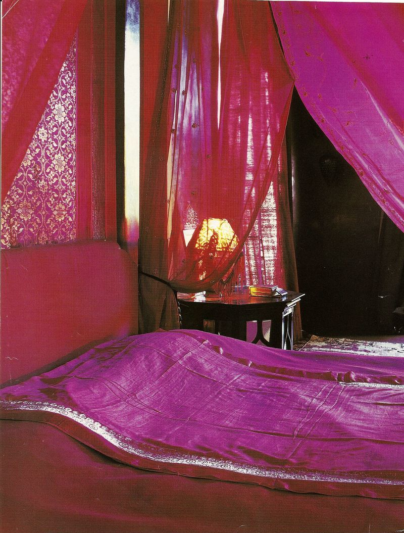 Gorgeous Moroccan Bedroom Theme With Glaring Colorful Furniture : Sweet  Purple Moroccan Bedroom Theme Canopy Bed With Purple Curtain