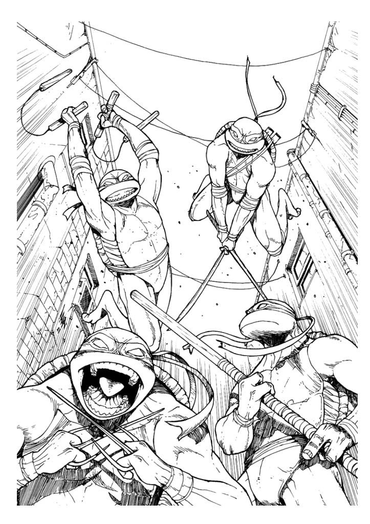 Four Ninja Turtle Coloring Page Ninja Turtle Coloring