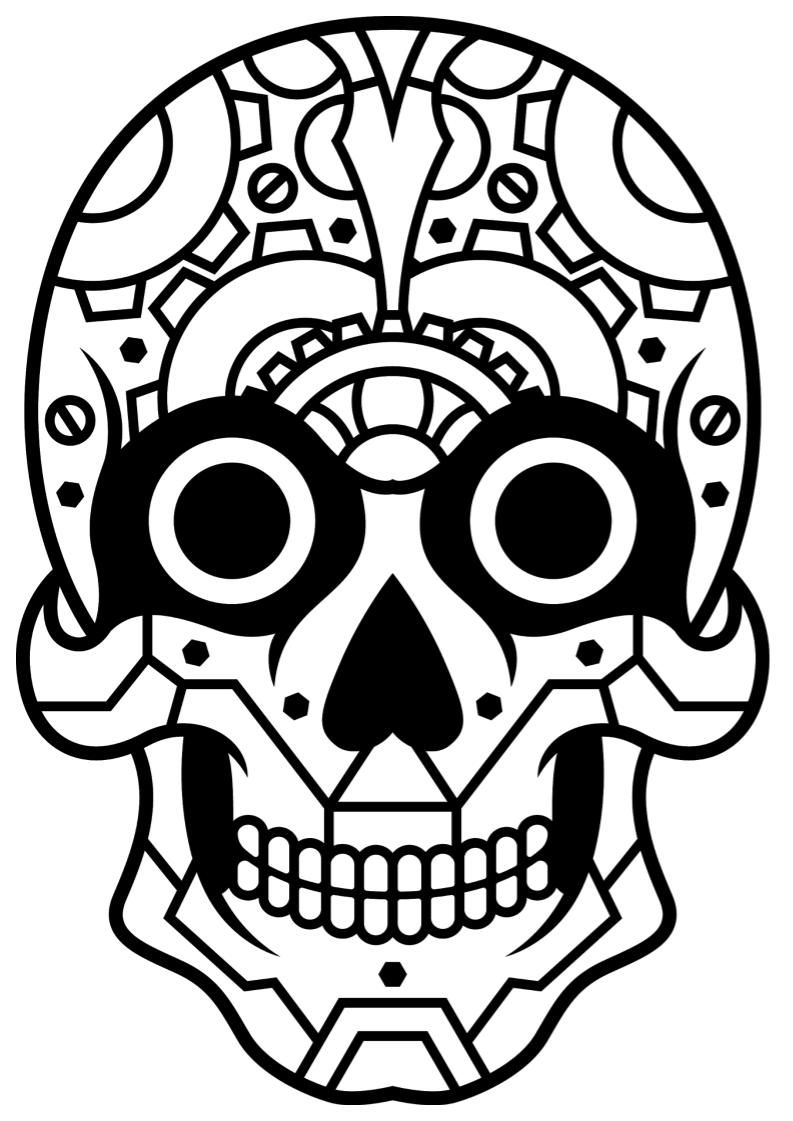 sugar skull mindfulness coloring - b&w skulls