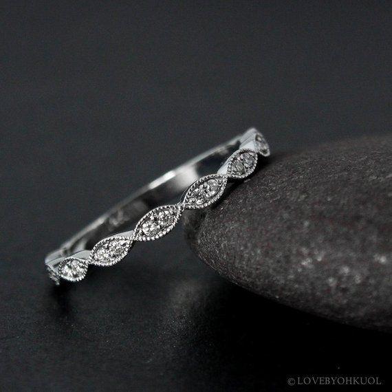 Weißes Gold Art Déco Doppel Diamant Blatt Milgrain Hochzeit Band – Jahrgang Hochzeiten