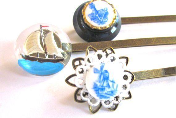Nautical Hair Accessories Boat Bobby Pins Set by PlumePretty, $18.00 #nautical #hair_pins