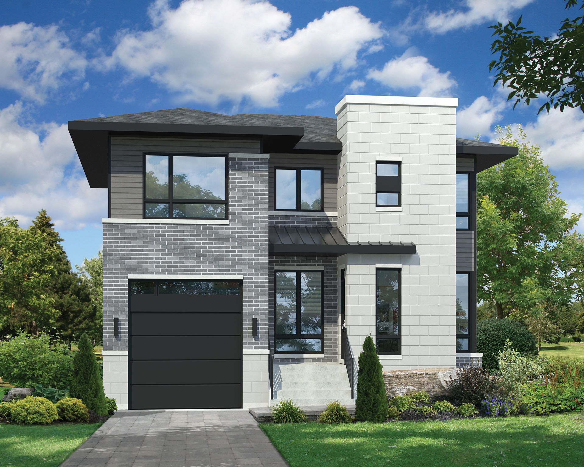 Two Story Contemporary House Plan in 2020 | Two story ...