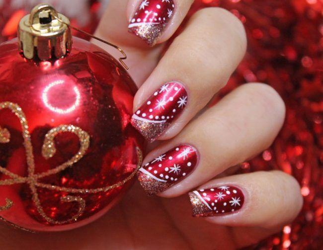 Fingernagel Design Elegant Rot Glitzer Sterne French Manicure