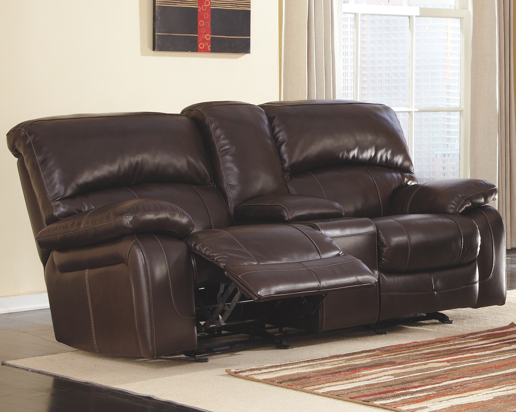 damacio power glider reclining loveseat with console dark brown rh pinterest es