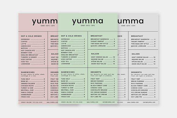 Yumma Menu Template by Viaduc on @creativemarket Design Templates