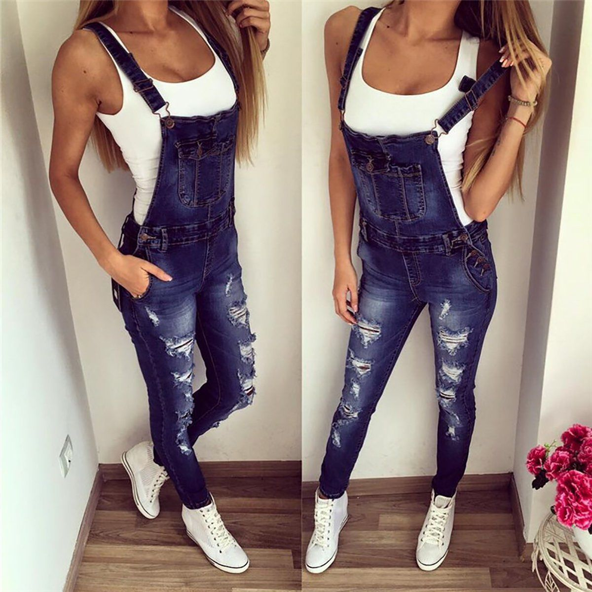 f9eb413c402 Women Girls Denim Bib Pants Overalls Suspender Trousers Jeans Jumpsuit  Romper